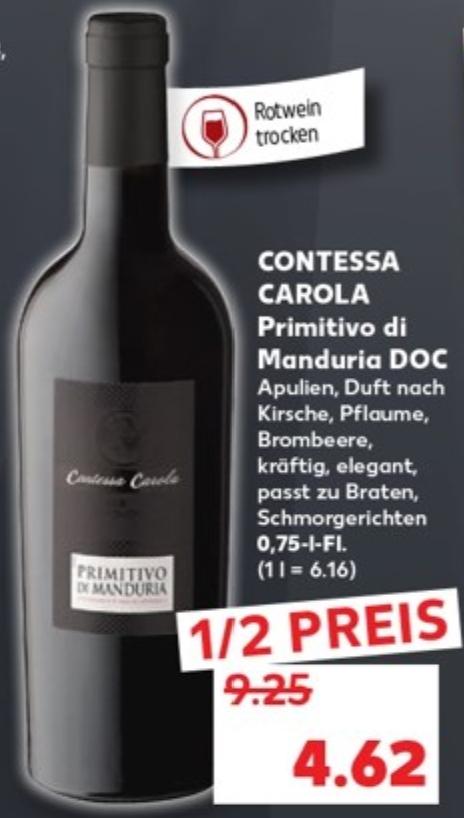 [Kaufland] Rotwein Contessa Carola Primitivo di Manduria für 4,62€