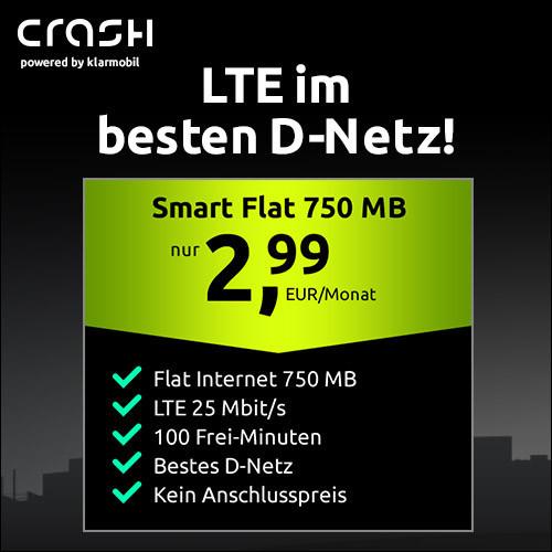 [Telekom-Netz] 750MB LTE (25 Mbit/s) Crash-Tarif mit 100 Freimin. + VoLTE / WLAN Call für 2,99€ / Monat & ohne Anschlusspreis