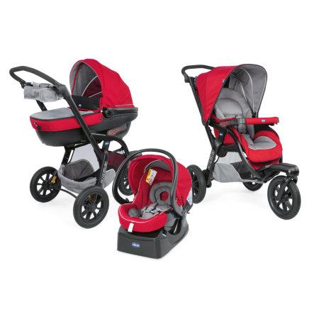 chicco Travel-System Trio Activ3 mit KIT-Car Red Berry: Kombikinderwagen + Babyschale fürs Auto