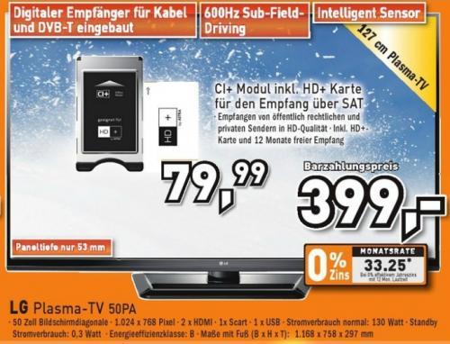 LG 50PA4500 TV für 399€ diese Woche bei Berlet !!!