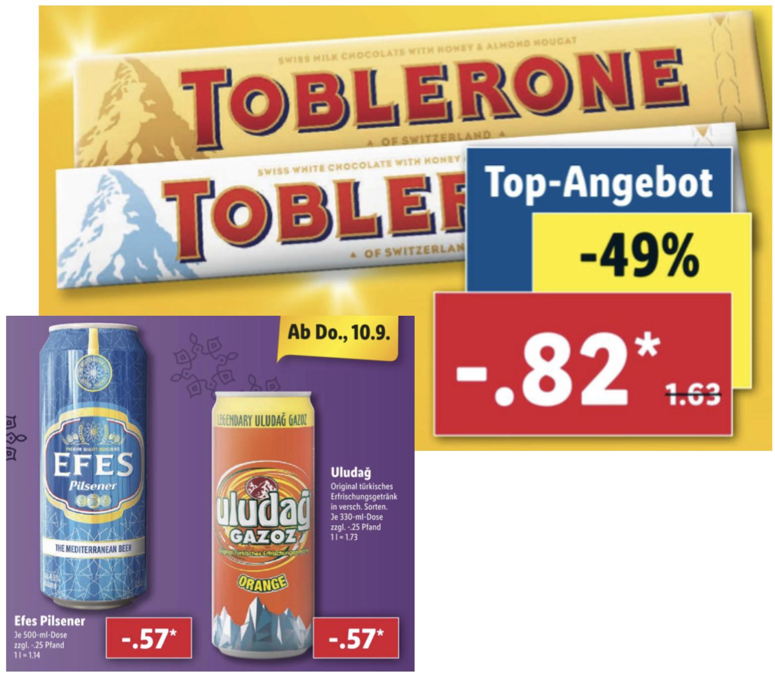 Lidl: Uludag Gazoz türkisches Erfrischungsgetränk 0,33l oder EFES Pilsener 0,5l Dose je 0,57€, Toblerone Schokolade 100g. für 0,82€ usw.