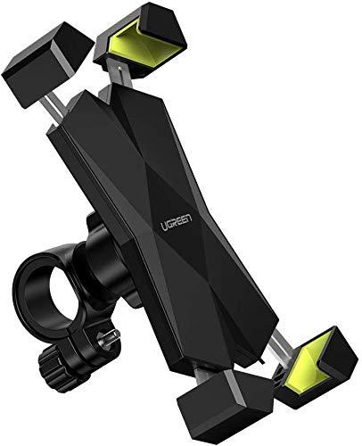 """[Prime] Ugreen Handyhalterung für den Fahrradlenker (für Geräte von 4.6 bis 6.5"""", 360° drehbar, Verriegelungsknopf, Silikonelemente)"""