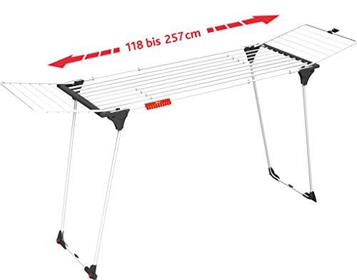 Wäscheständer Vileda Infinity (27m Leinenlänge, praktisch ausziehbar von 186cm bis 257cm, Sockenhalterung, 3 Jahre Garantie)