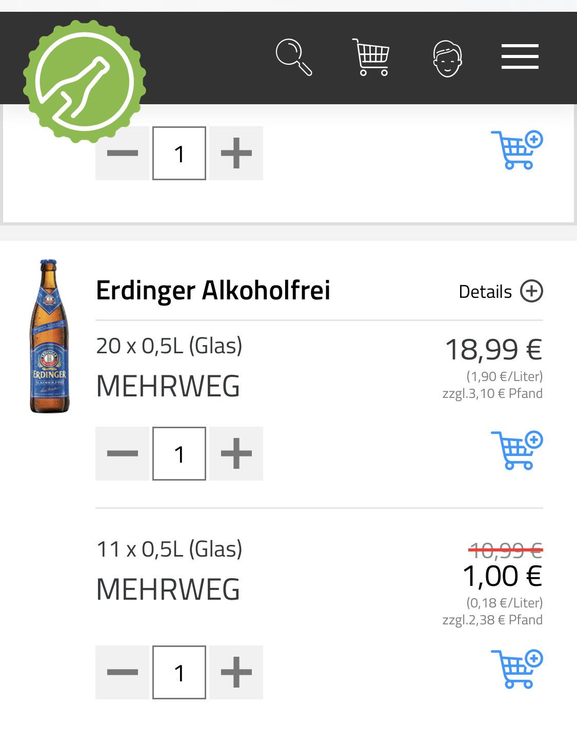 [Lokal Berlin] [Flaschenpost] Erdinger alkoholfrei 11er Kasten (0,5l) für 1 EUR [MBW = 20 EUR]