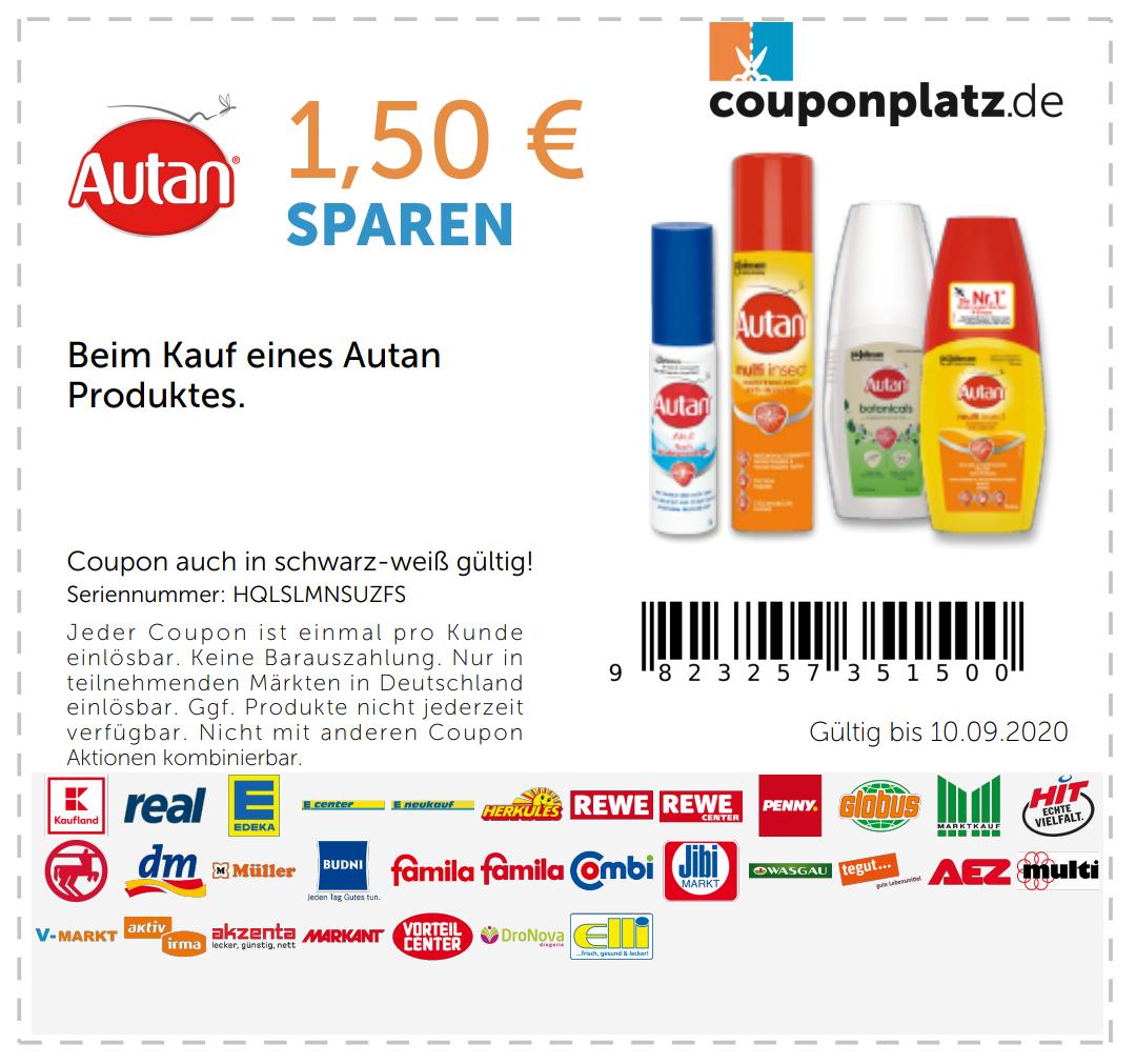 1,50€ Rabatt beim Kauf eines Autan Produktes