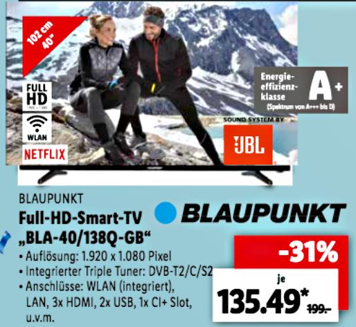 Lokal Lidl Bln-Reinickendorf: BLAUPUNKT Fernseher 40 Zoll FullHD SmartTV (130,49 möglich) sowie PS 4 Pro Bundle für 249,00