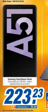 [Expert Technikmarkt Filialen ab 01.09] Samsung Galaxy A51 128GB, Android 10, Dual-SIM, 4 GB DDR4X für 223,23€