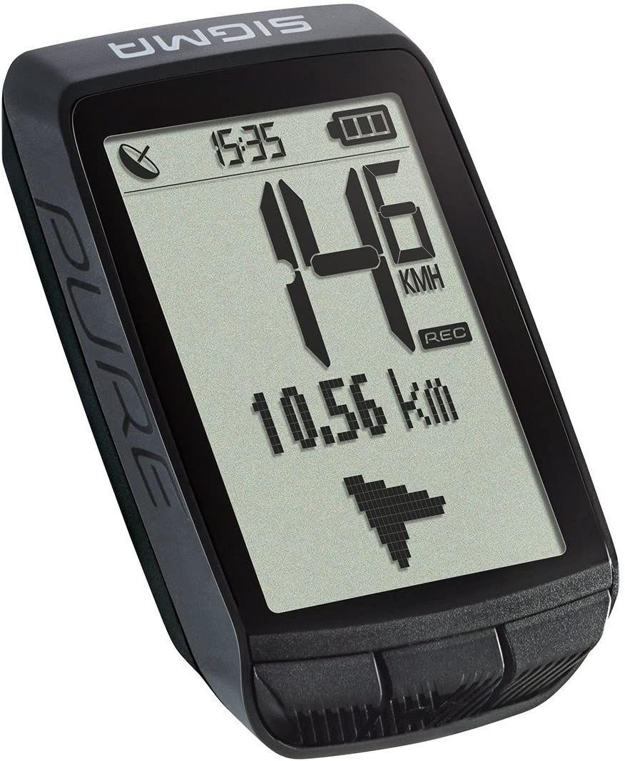 Sigma Sport Pure - Fahrradcomputer (GPS, NFC, 15h Akku, Tachometer, Thermometer, Höhenmesser, Fahrzeit, Strecke, IPX8)