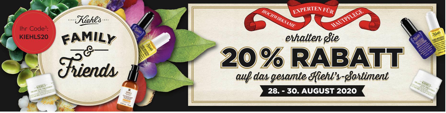 20% Rabatt auf Kiehl's-Produkte