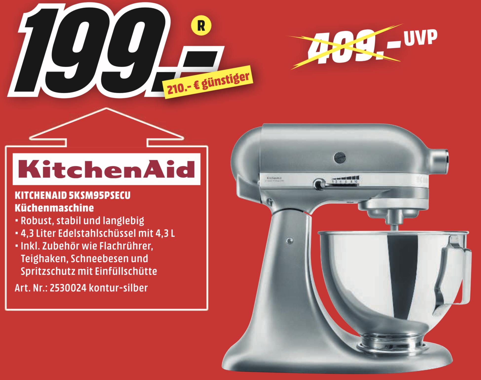Lokal MediaMarkt Karlsruhe: KitchenAid 5KSM95PSECU Küchenmaschine kontur silber für 199€ / Miele Triflex HX1 Akku Staubsauger für 285€