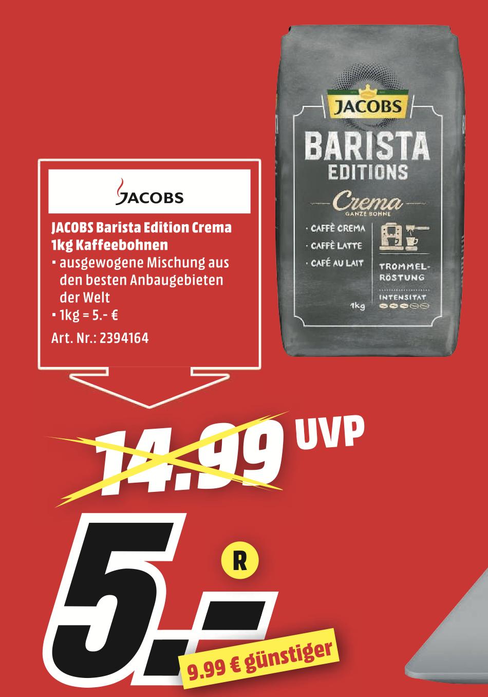 Jacobs Barista Editions Crema 1KG (ganze Bohne) [Lokal MediaMarkt Karlsruhe]