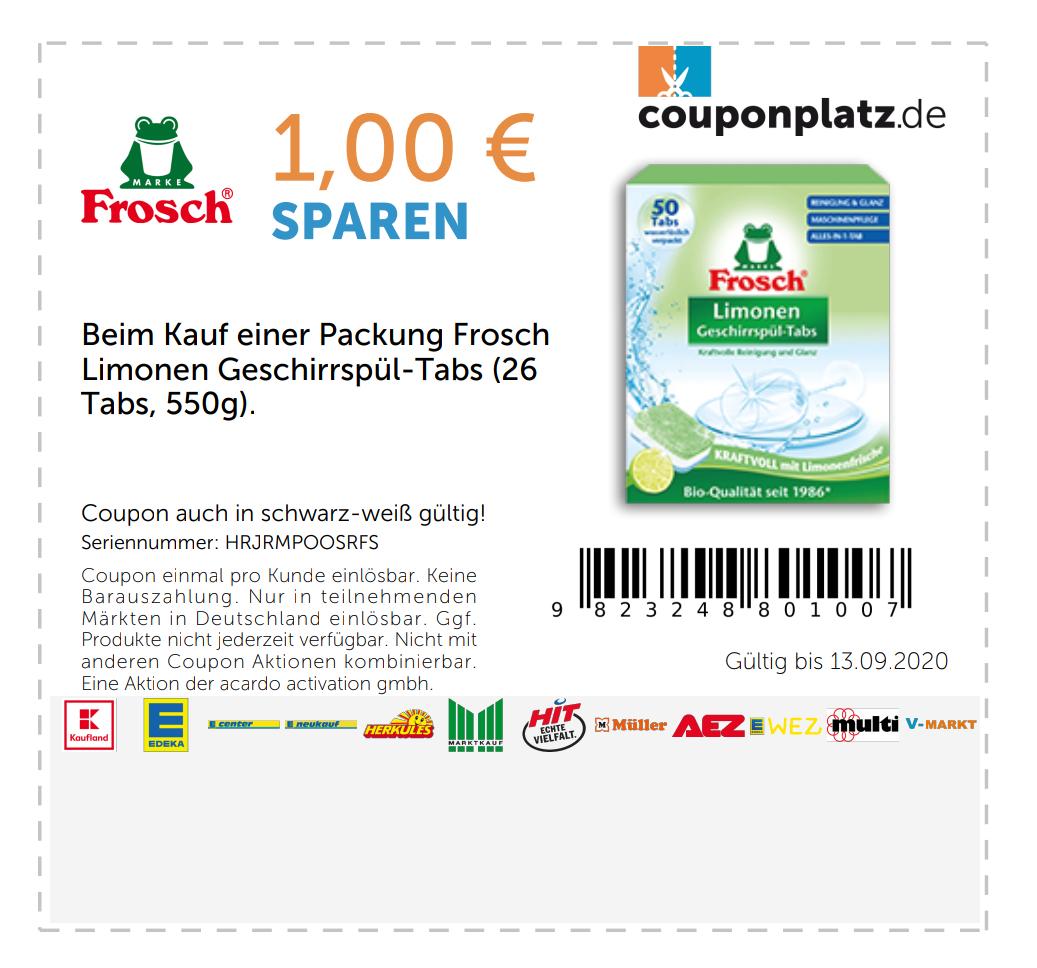 1,00€ Rabatt auf FROSCH Limonen Geschirrspül-Tabs