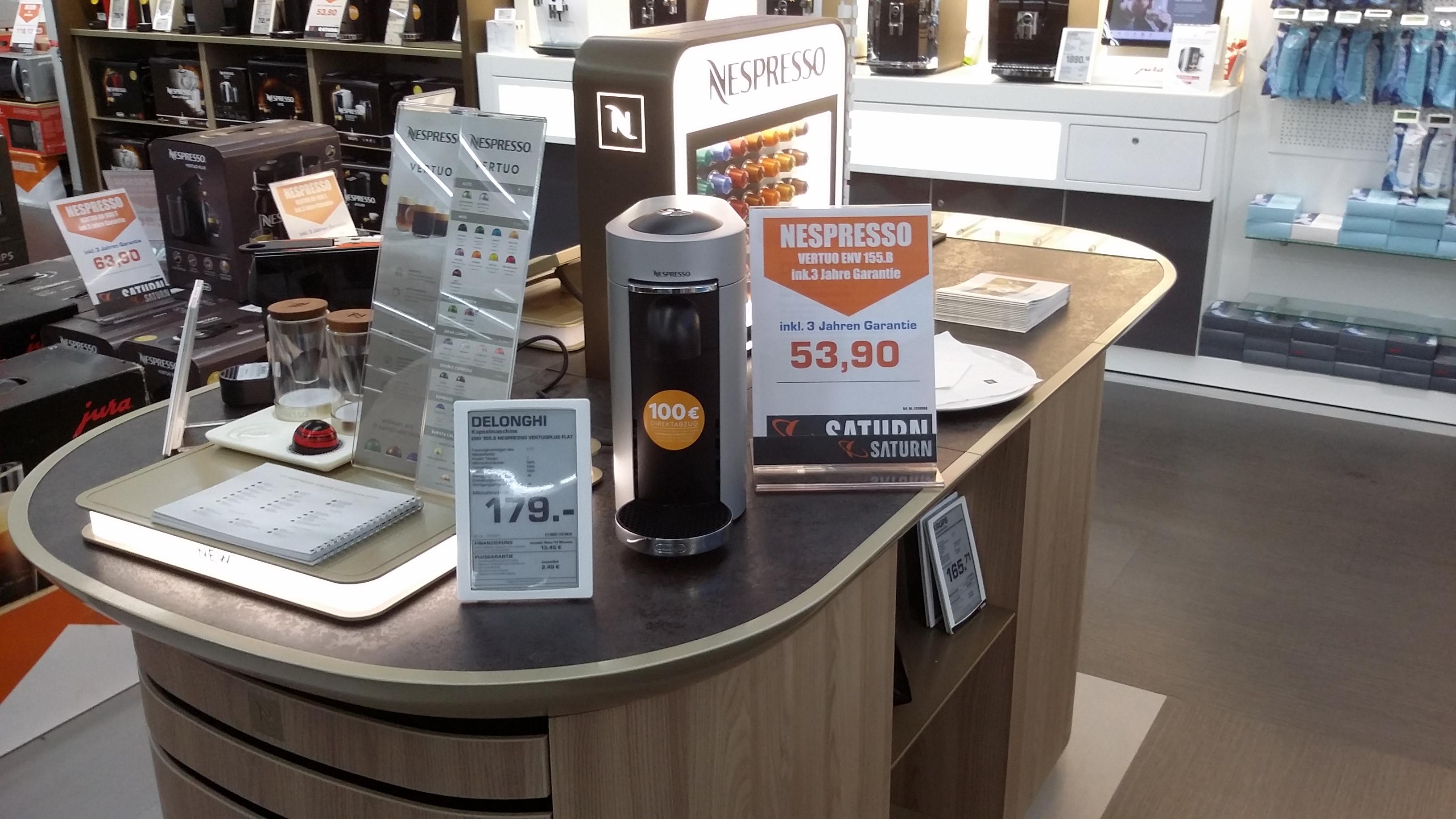 Nespresso Vertuo für 53,90€ bzw. 63,90€ inkl. 3 Jahre Garantie im Saturn Karlsruhe Durlach