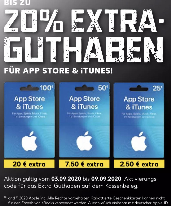 Apple AppStore & iTunes bis 20% Extra Guthaben [Kaufland]