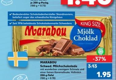 [Kaufland ab 03.09] MARABOU-Schwedische Milchschokolade in der 250g King Size Version für 1,95€