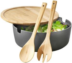 """Esmeyer Servier-Salatschüssel """"Brooklyn"""" ca. Ø 26, H 13 cm mit Deckel & Salatbesteck aus Bambus für 9,75€ (Müller Abholung)"""