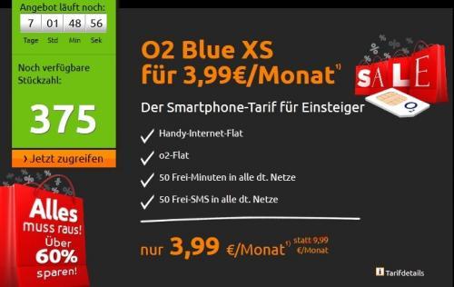 [MD] Crash-Tarife.de: o2 Blue XS für 3,99 Euro / Monat
