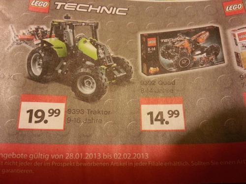 2 x Lego Technic Angebote bei Müller (offline/bundesweit ab 28.01.2013) - 9393 - Traktor für 19,99 € & 9392 - Quad für 14,99 €