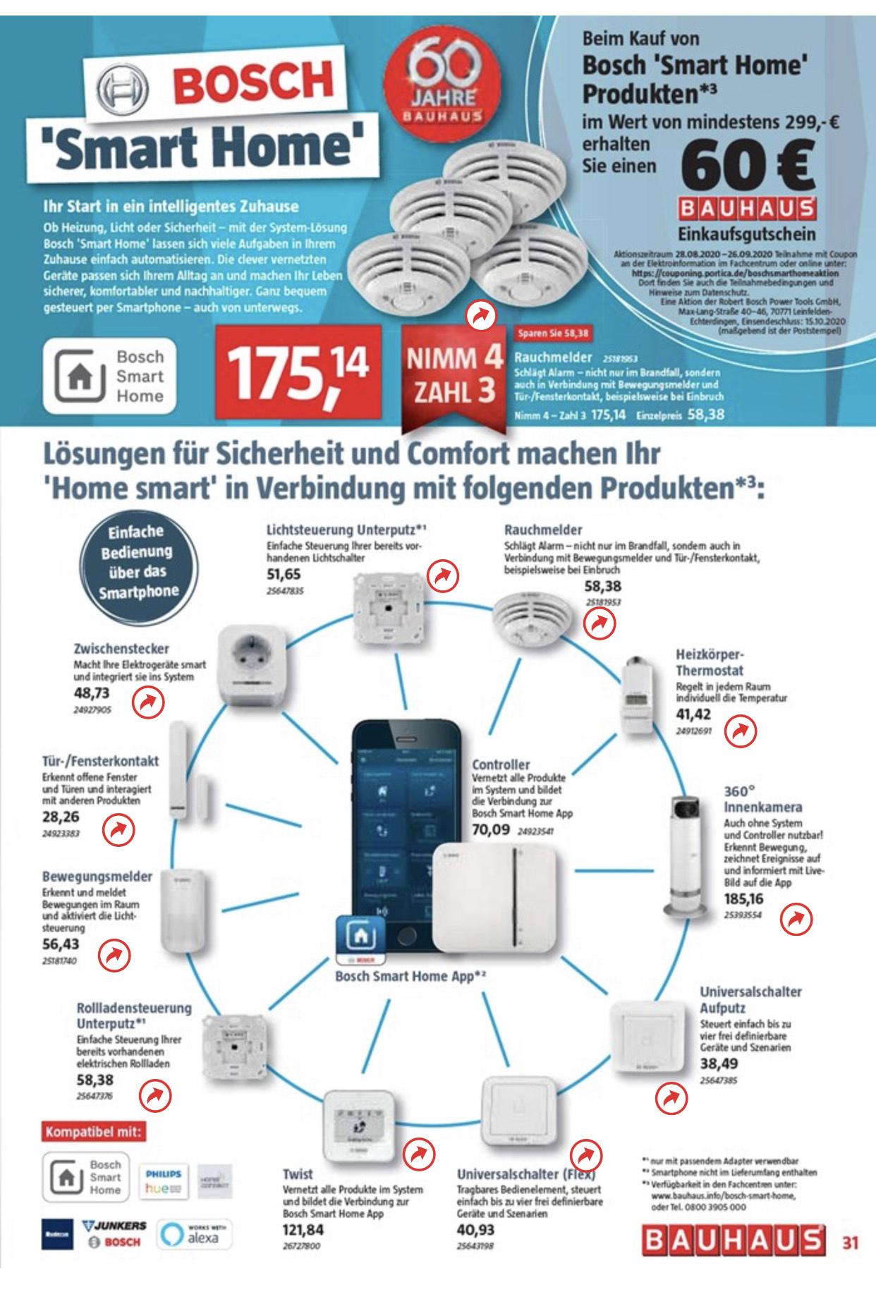 Bosch Smarthome Aktion Bauhaus z.B. Rauchmelder 4 für 3