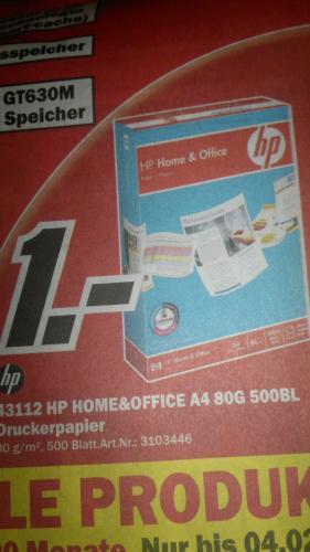 500 Blatt Druckerpapier A4 von HP für 1€ Media Markt [lokal Halle/Saale]