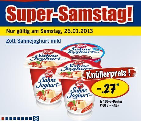 [lokal - deutschlandweit] Zott Sahnejoghurt für 0,27€ @ Lidl (nur am 26.01.2013)