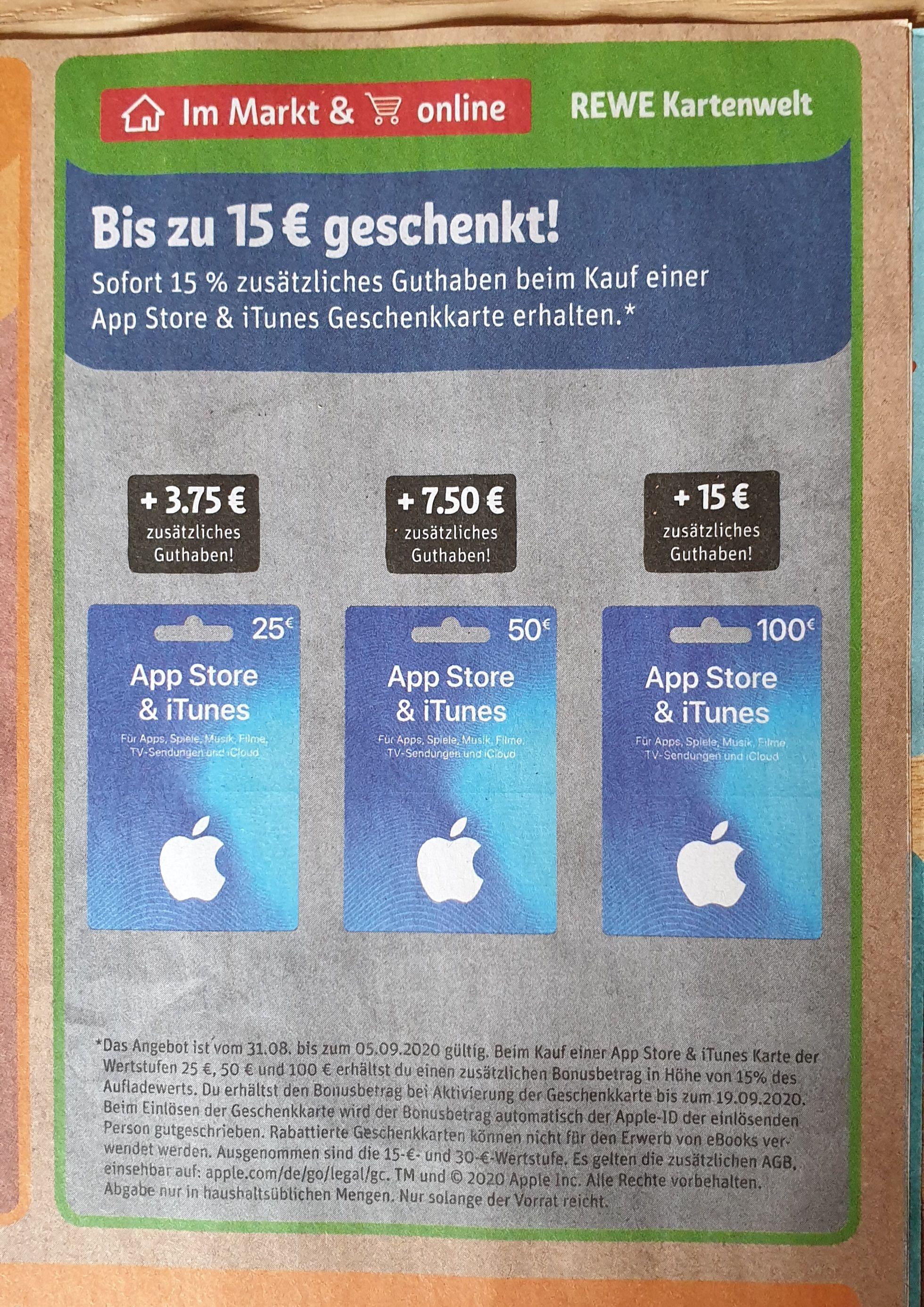Lokal und Online Apple App Store & ITunes 15% zusätzliches Guthaben bei Rewe