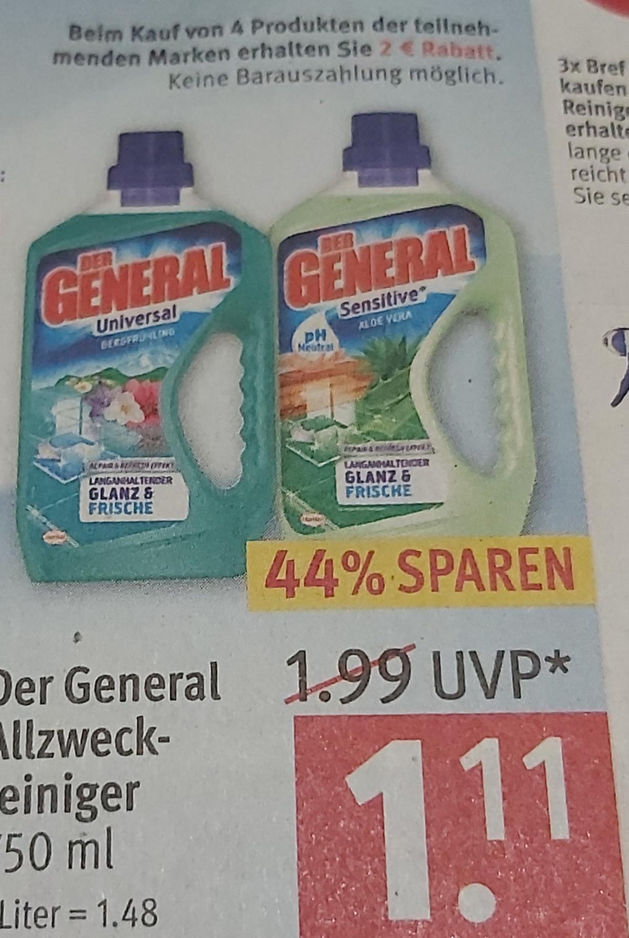 [ Rossmann ] 4* Der General Allzweckreiniger 750ml kaufen und 2€ Rabatt bekommen ,mit 10% nur 0,55€ pro Stück