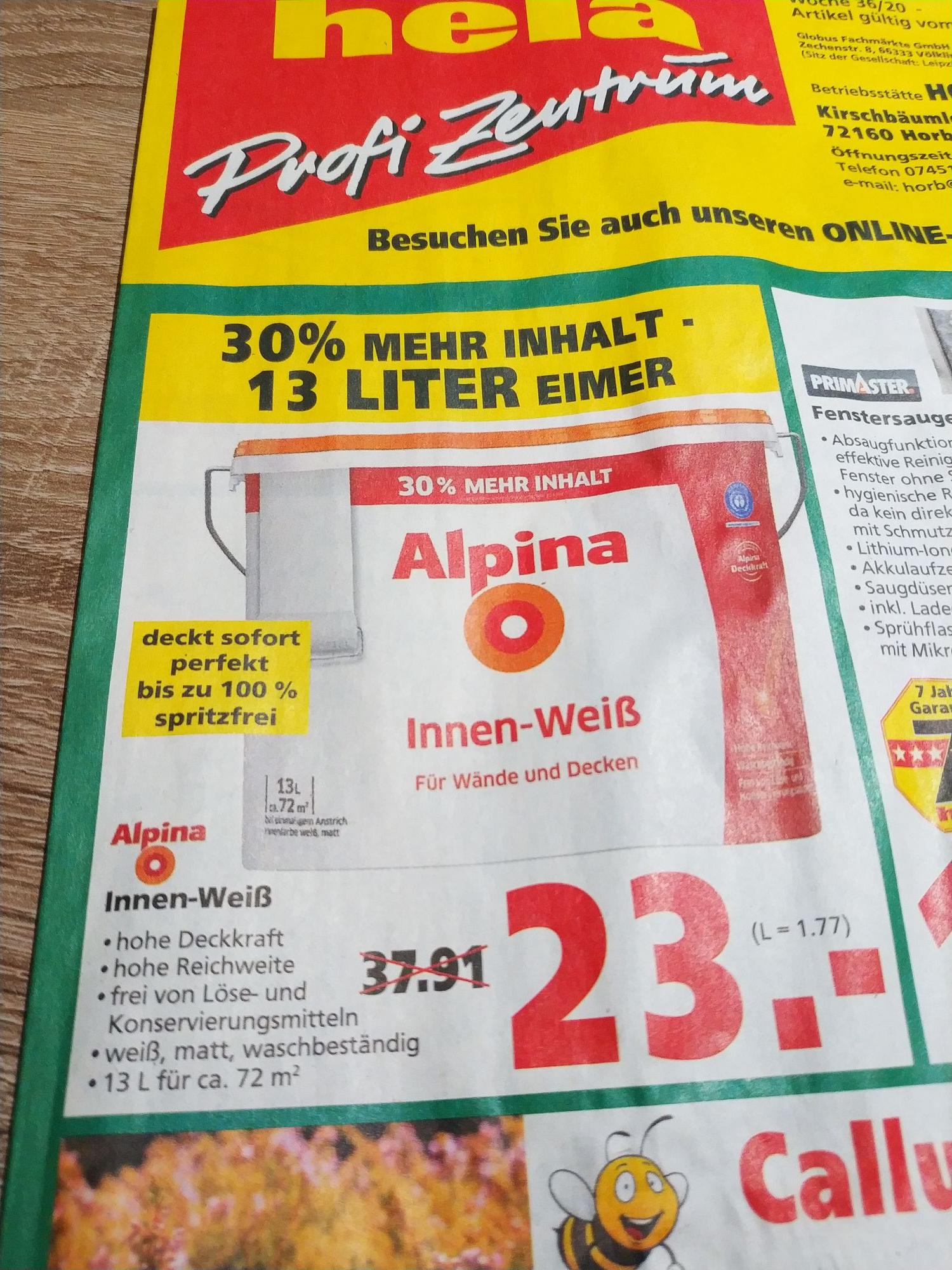 [Lokal Horb am Neckar] Alpina Innen-Weiß 13 Liter Eimer