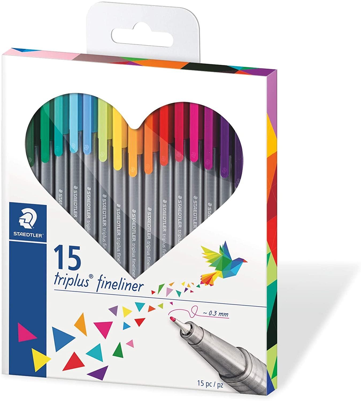 Staedtler Triplus Fineliner Set Herz mit 15 brillianten Farben für 4,49€ (Müller Abholung)