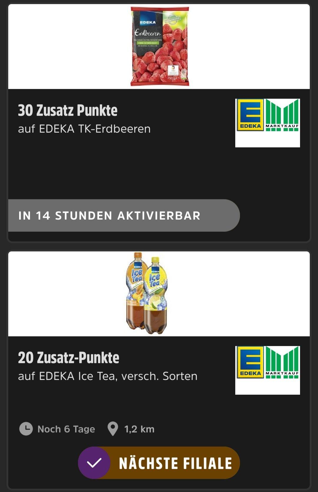 [Deutschland Card App] 20 extra Punkte pro Edeka ICE TEA Flasche oder 30 extra Punkte pro gekaufter TK Erdbeeren (Beschreibung lesen!)