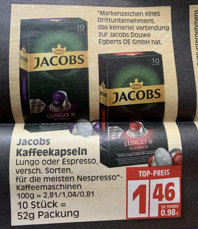 Jacobs Kaffeekapseln 10er Packung 1,46€ - 14,6 Cent pro Kapsel (Lokal Edeka Berlin, Minden-Hannover)