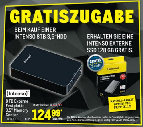 [Metro] Intenso Memory Center 8TB externe Festplatte + gratis ext. SSD 128GB