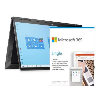 """HP Microsoft 365 Aktion: z.B. HP Envy x360 15 + Microsoft 365 (15.6"""", Ryzen 5 4500U, 8GB RAM, 512GB SSD, USB-C + DP 1.4 & PD, 51Wh, 2kg)"""