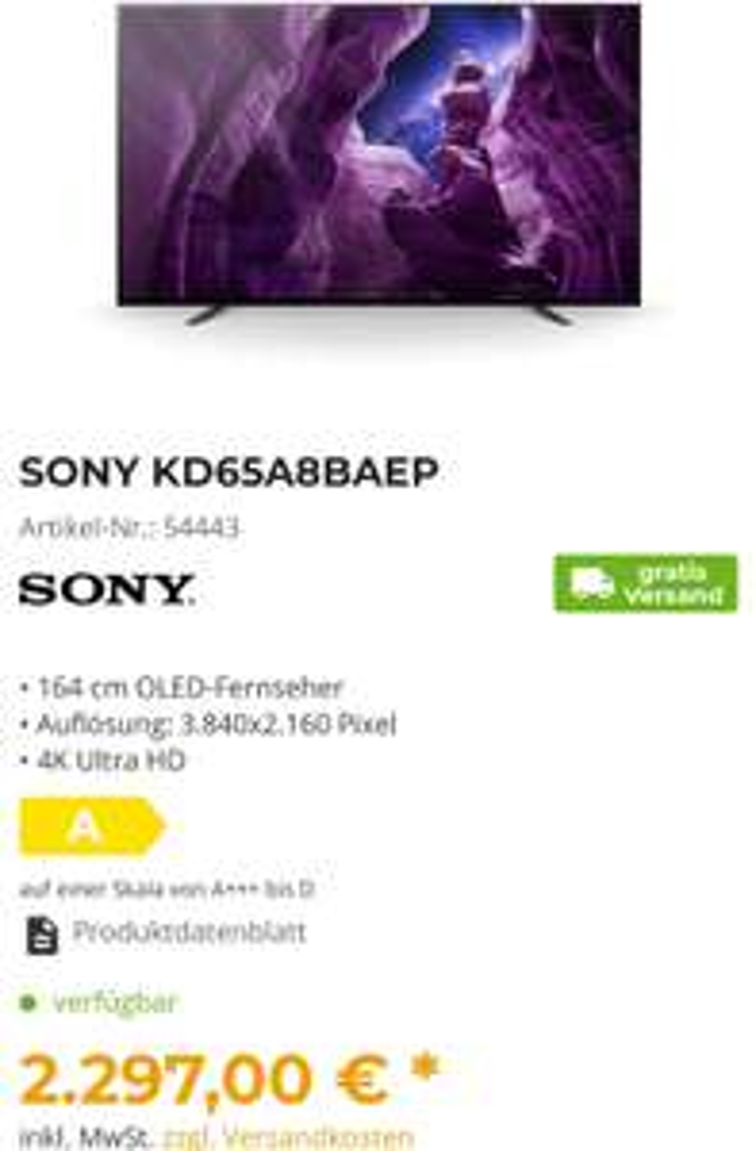 SONY KD65A8BAEP Oled Fernseher