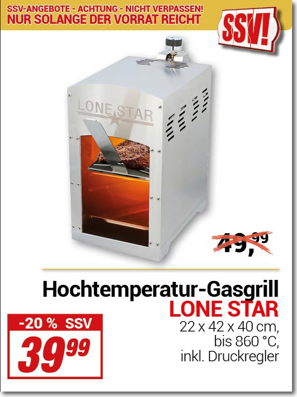 Lokal NRW/HE/RP Centershop - Lone Star Beef Maker Hochtemperatur-Gasgrill mit Oberhitze bis 860°C inkl. Druckregler