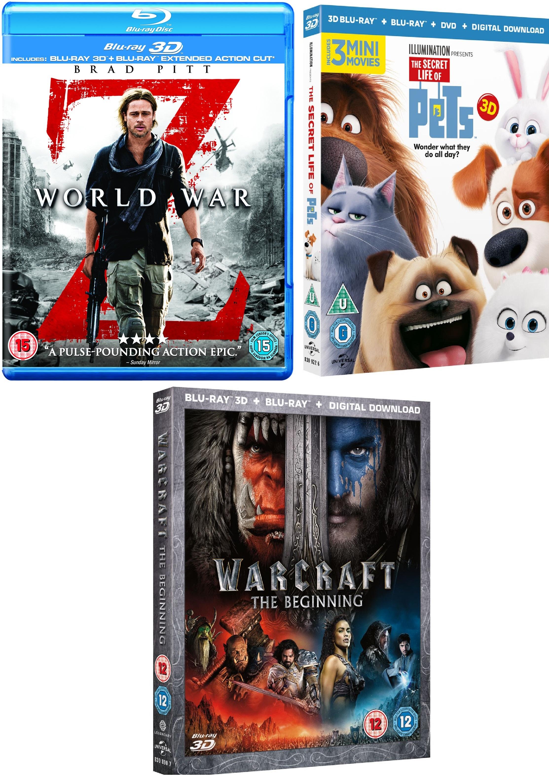 World War Z: Extended Action Cut 3D / Pets 3D / Warcraft: The Beginning 3D Blu-rays für je 6€ inkl. Versand