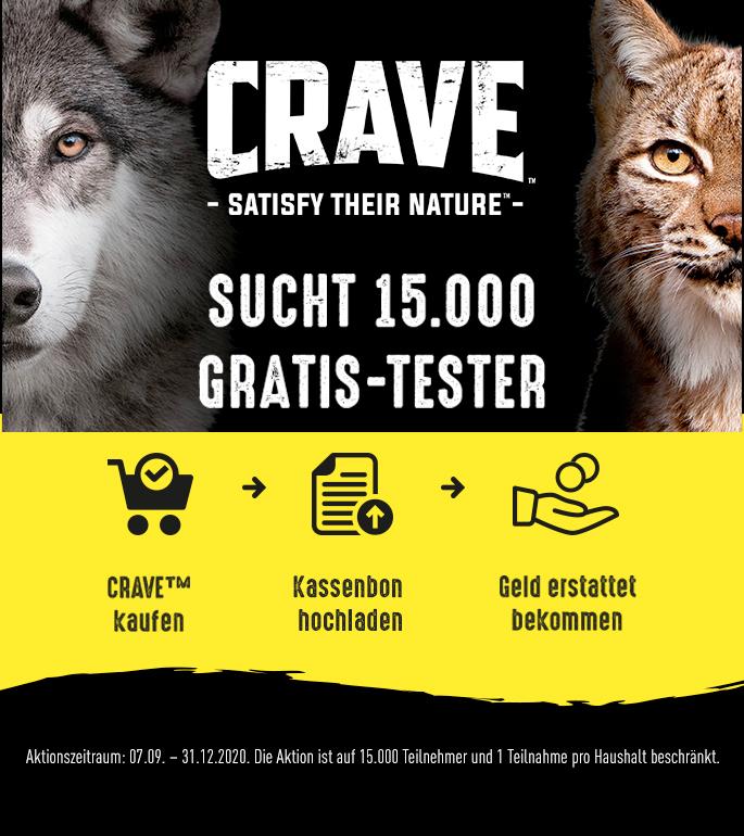 [GzG] Kostenlos testen 100% Cashback auf CRAVE Hunde oder Katzenfutter (Aktionsprodukte)