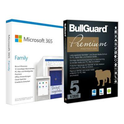 Microsoft 365 Family | 6 Nutzer, mehrere Geräte | 12 Monate inkl. Bullguard Internet Security - Abholerpreis: 47,62 €