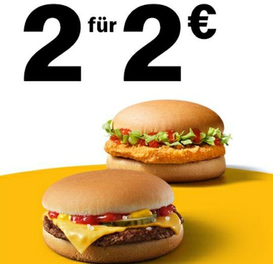 2x Cheeseburger oder Chickenburger für 2€ [regional][McDonalds's APP]
