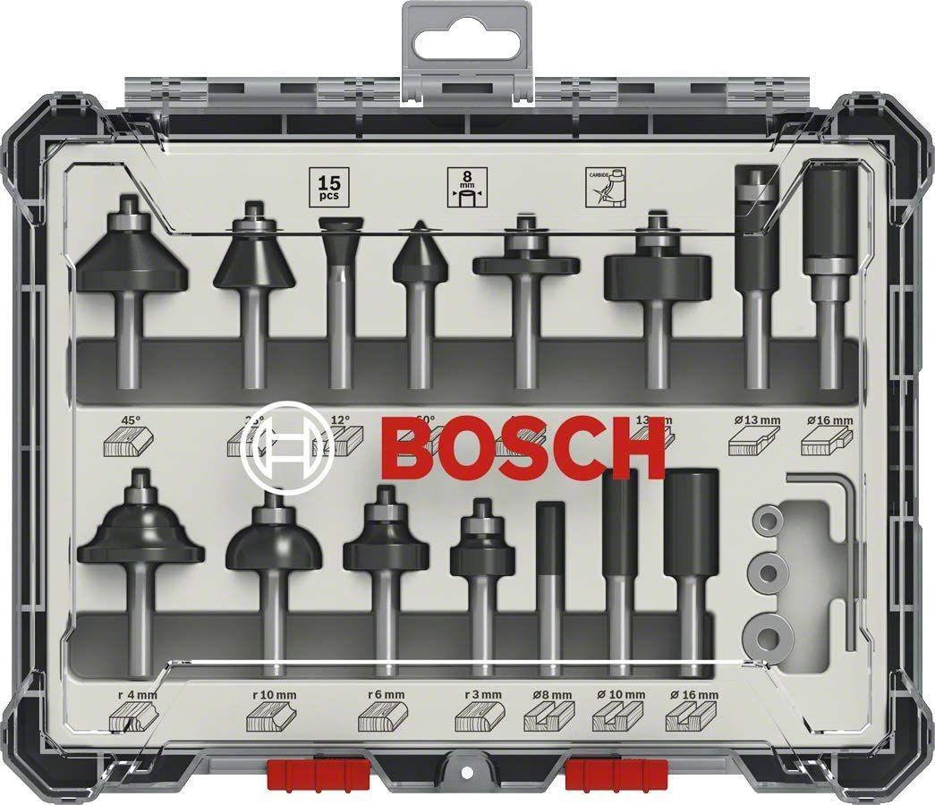 Bosch Professional 15tlg. Fräser-Set (für Holz, Zubehör für Oberfräsen mit 8 mm Schaft)