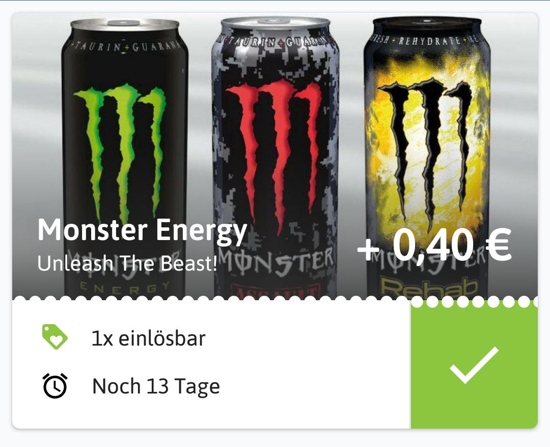 (Reebate) 0,40€ Cashback auf Monster Energy / Rewe & Penny für effektiv 0,48€ zzgl. Pfand