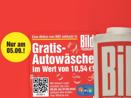 [ Hamburg ] IMO Autowäsche für 1,-€ (statt 10,54€) und 1×BILD (HH) gratis