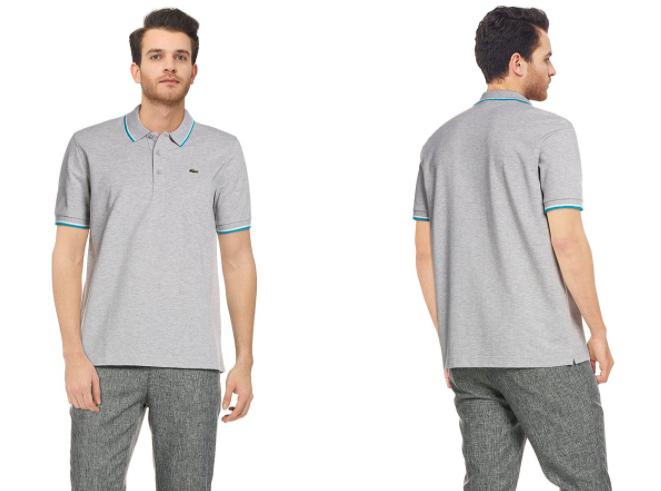 LACOSTE Polo-Shirt, gerader Schnitt in Grau - nur heute