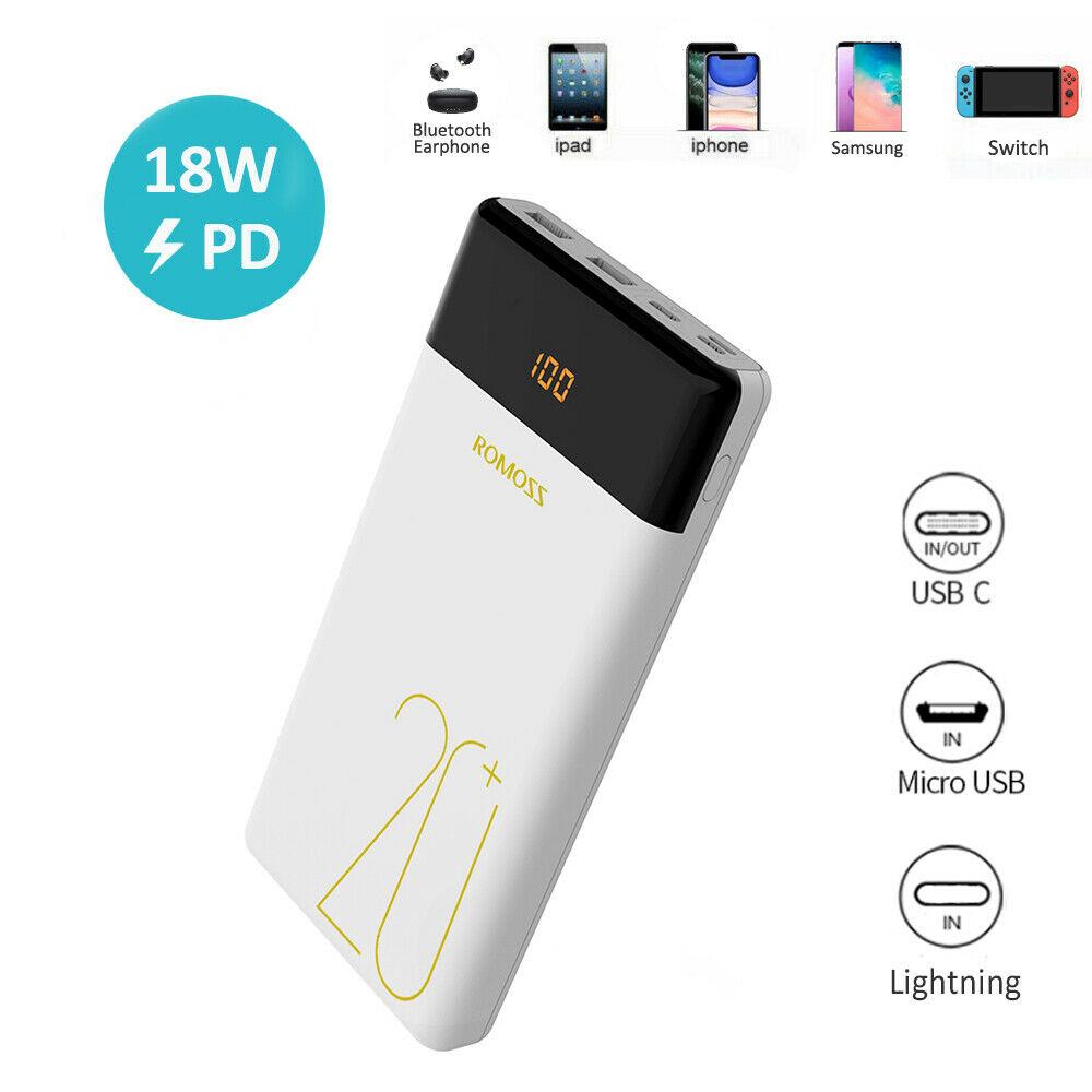 18W Powerbank 20000mAh Externe Zusatzakku Ladegerät QC3.0 USB-C für Handy