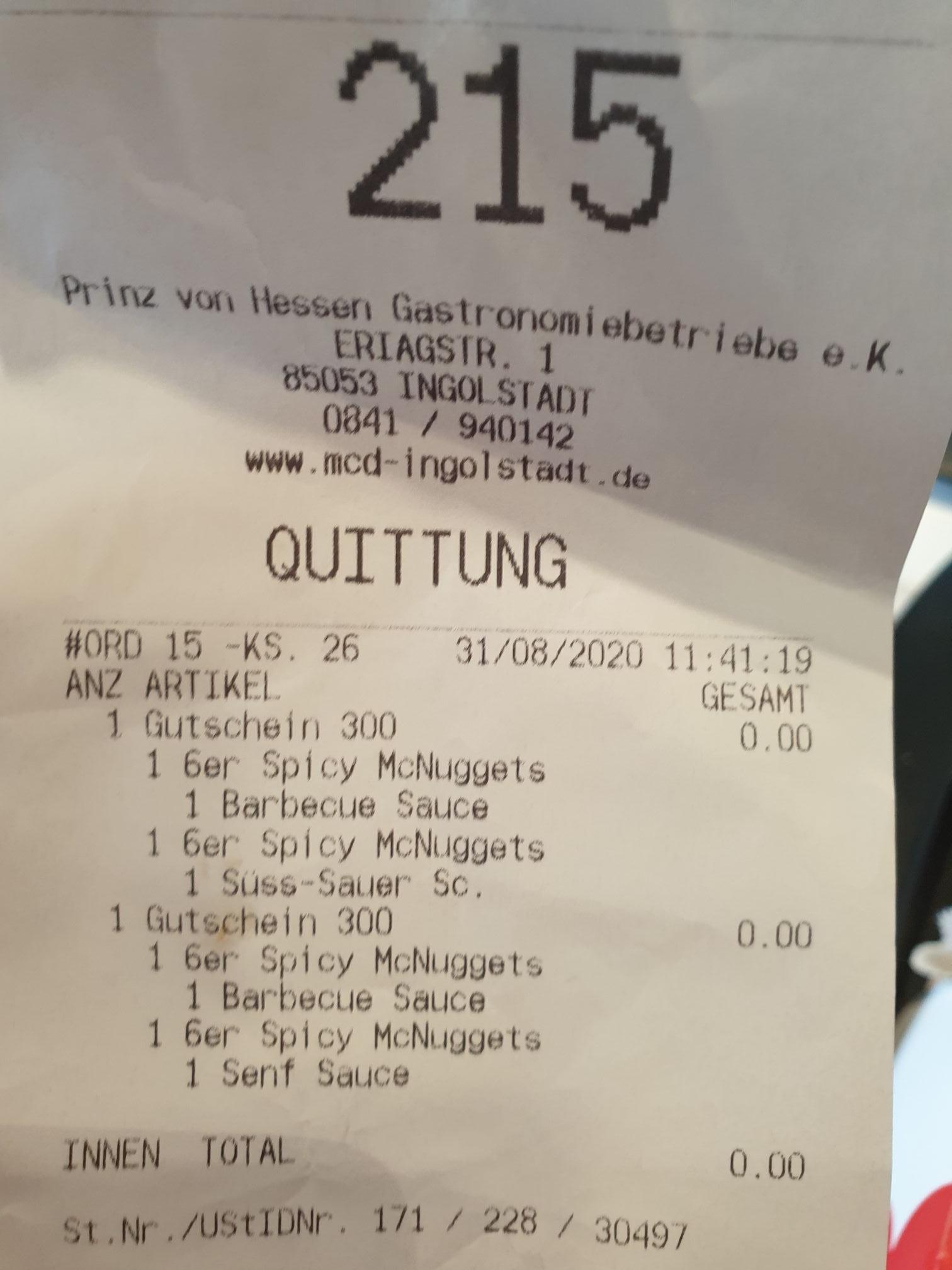 Preisfehler 12 Spicy Nuggets kostenlos (vermutlich bundesweit am Terminal)