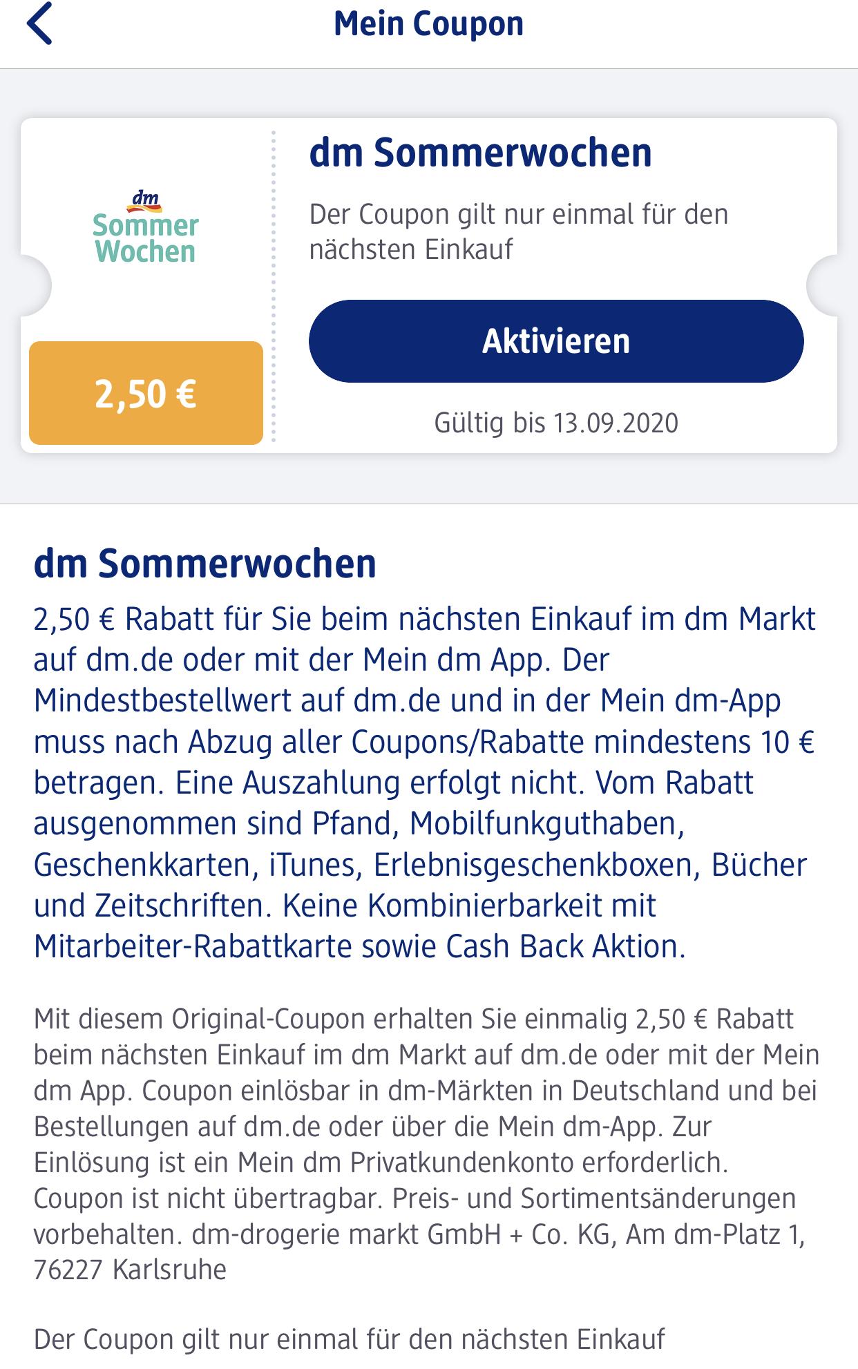 DM App Coupon 2,50€ sparen bei 10€ Umsatz