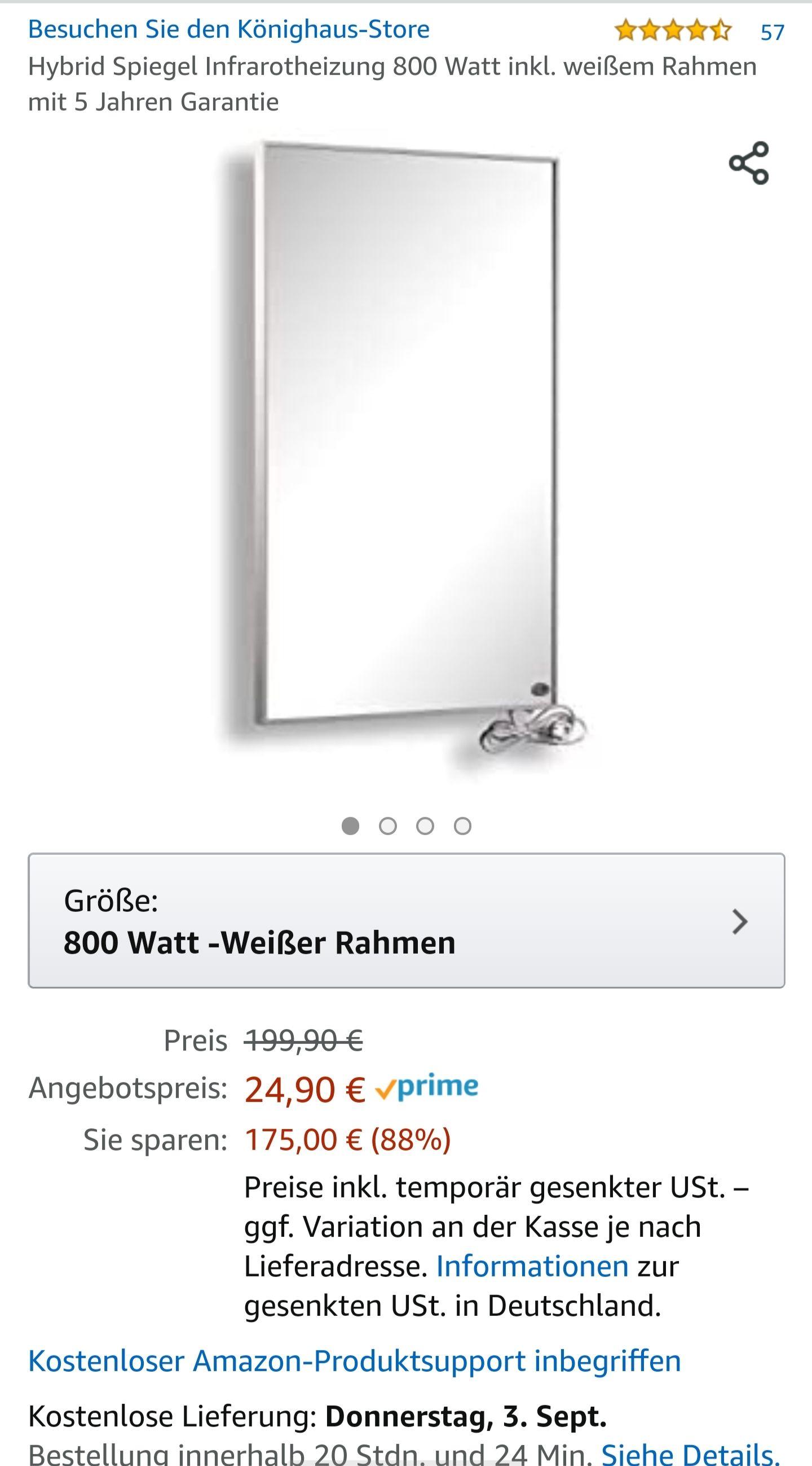 Amazon Prime - Hybrid Spiegel Infrarotheizung 800 Watt (Preisfehler)