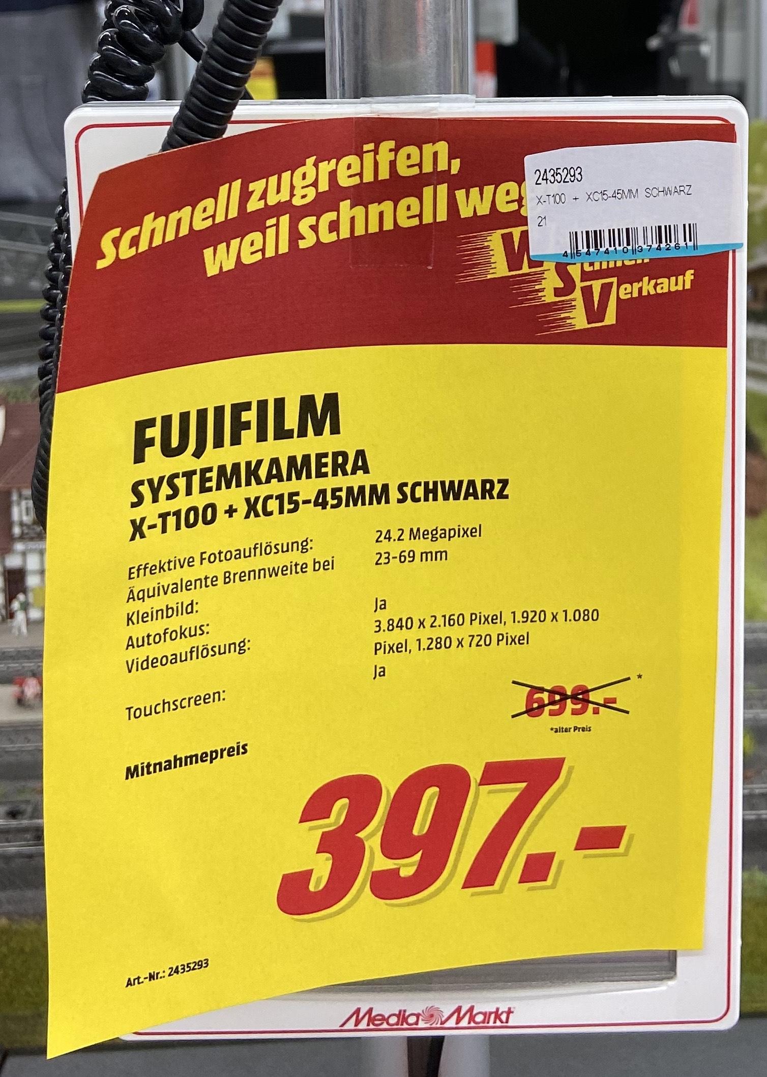 [Lokal MM Hannover]: Fujifilm X-T100 + XC15-45mm schwarz