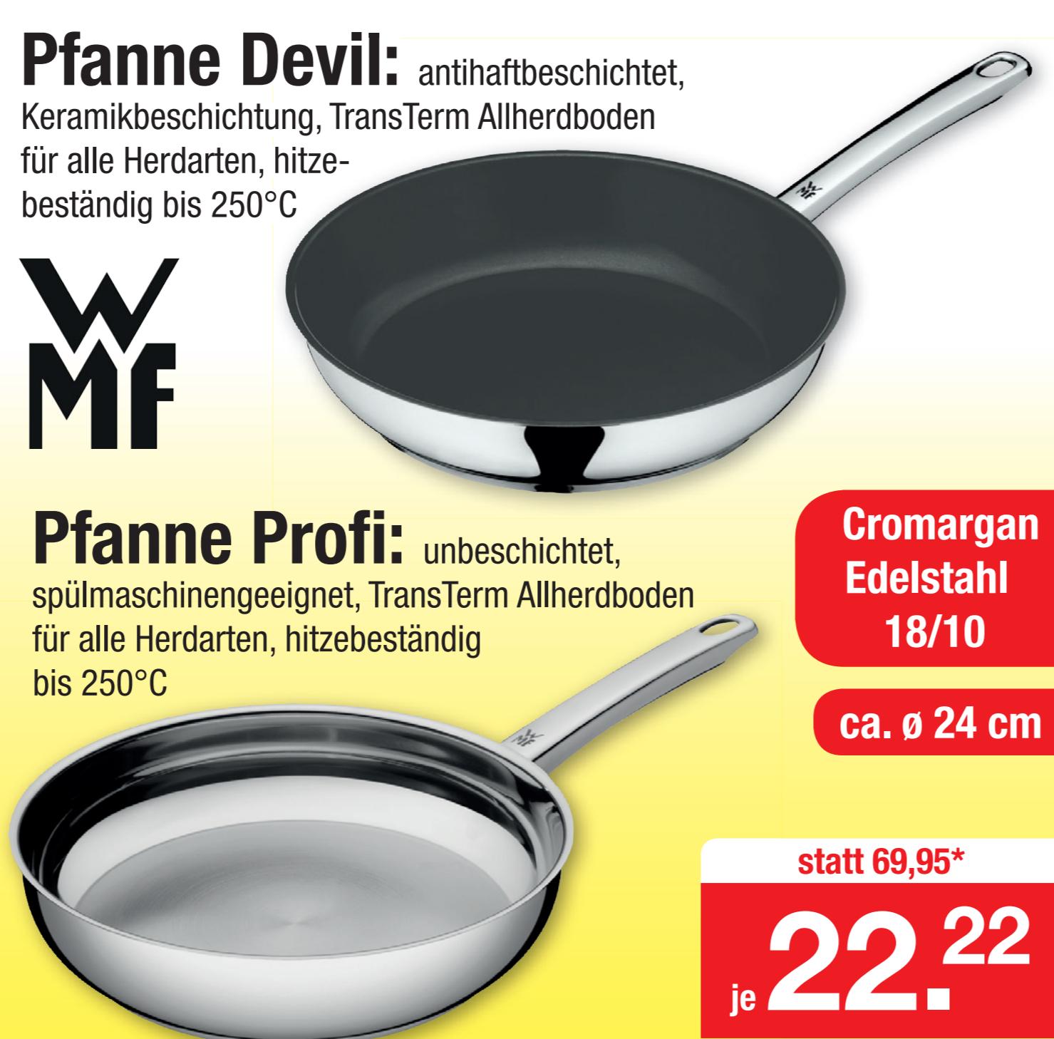 """[Zimmermann] Keramik-beschichtete WMF 24cm Pfanne """"Devil"""" mit Edelstahlgriff & Schüttrand (PTFE-&PFOA-frei) // WMF Profi Pfanne 24 cm"""