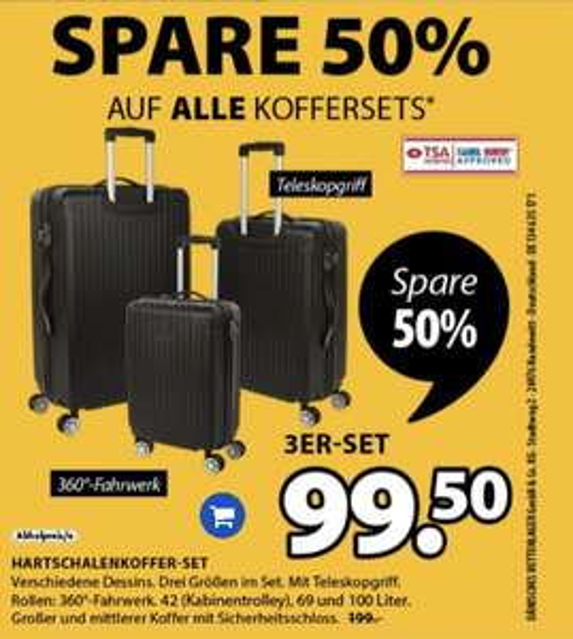 [Dänisches Bettenlager] Koffersets für 49,50€ (30l & 45l) / 3-teilig für 99,50€ zzgl. 5,99€ Versandkosten